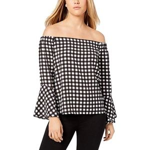 Bar III Top Off The Shoulder Blouse Gingham Bell